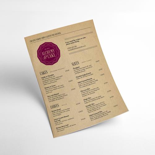 Alchemy & Cake menu